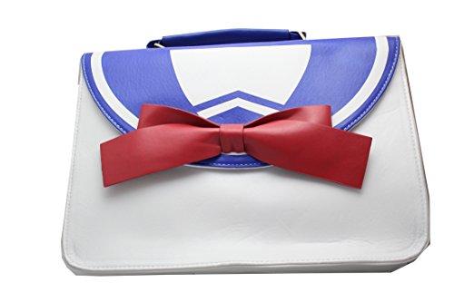 Borsa ecopelle da marinaretta con fiocco rosso 31x22x9 cm cosplay Pidak shop