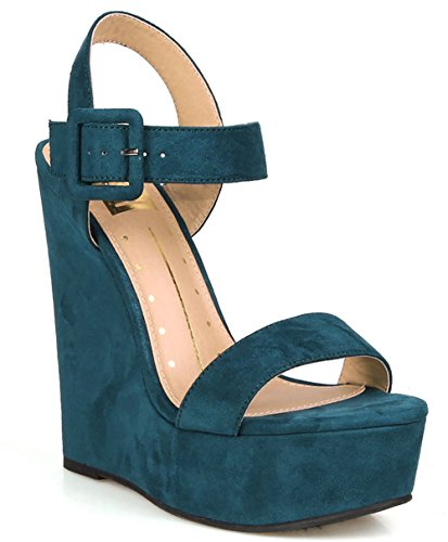 Teal Vegan Suède Open Teen Buckled Enkelband Platform Sleehak