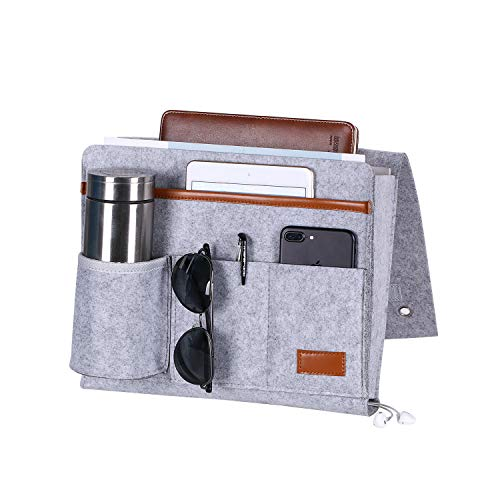 BEWISHOME Bedside Caddy, Felt Hanging Storage Organizer, Bedside Storage Organizer with 5 Pockets for Holding Laptop, Magazines, Water Bottle and Remotes, Light Grey FCD01W
