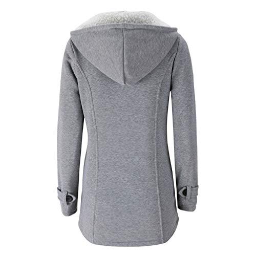 Blended Maniche Casual Giacca Maglione Lunghe Chiaro Camicia Cappotto Lana FANTIGO di Donna Invernale Cappotto Grigio EqRwv