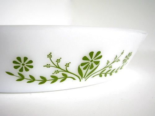 (Vintage Glasbake Divided Casserole J2352 Green Daisy)