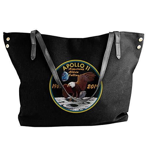Price comparison product image Apollo 11 50th Anniversary Logo Women's Canvas Hobo Handbags Shoulder Bag Tote Bag