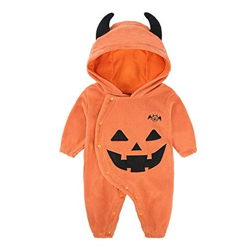 Baby Kids Halloween Hoodies Costume Romper, Super Cute Pumpkin Hooded Jumpsuit Halloween Cosplay Partywear (80)