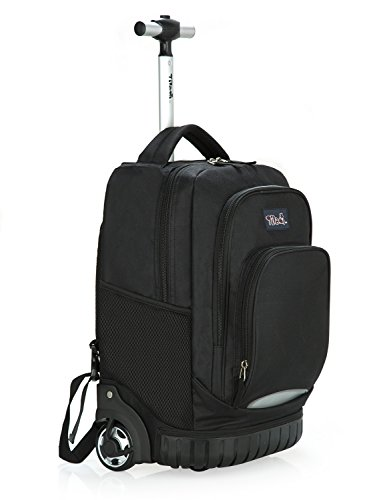 Tilami New Antifouling Design 18 Inch Oversized Load Multi-Compartment Wheeled Rolling Backpack Luggage for Kids (New Black 1) by Tilami