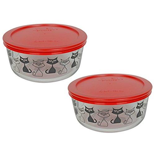 (2) Pyrex 7201 4 Cup Black Cat Glass Bowls & (2) 7201-PC Poppy Red Plastic Lids