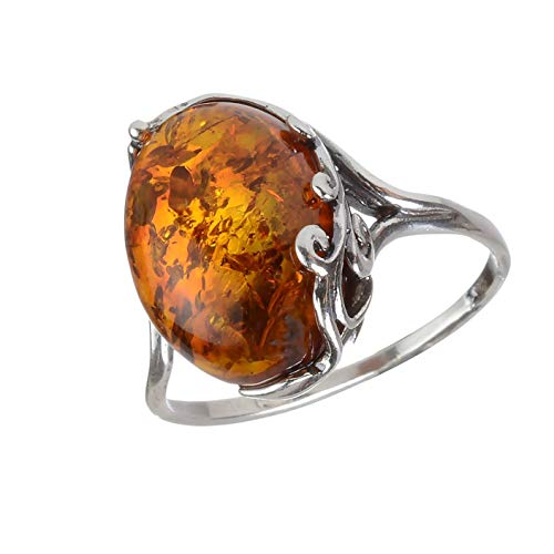 HolidayGiftShops Sterling Silver and Baltic Honey Amber Ring Dana Size: 6