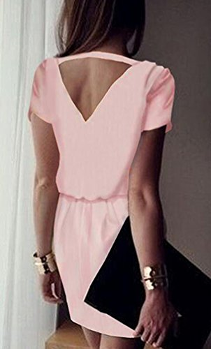 NiSeng Mujeres Gasa Manga Corta Vestido V-Cuello Escotado Por Detrás Mini Vestido Rosa