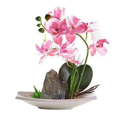 (Pink) - Blooming Phalaenopsis Artificial Flower Arrangements Orchid Flower Bonsai Rockery Series in vase for Home Wedding Party Office Dcoration B078YPTRT6 ピンク