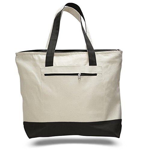 Reusable Zipper Shopping Tote Bag Heavy Canvas Two Tone, Bla