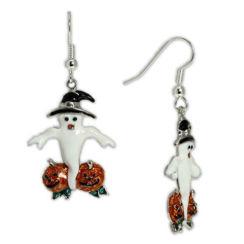 White-Ghost-in-Pumpkin-Patch-Earrings-in-Silver-Tone-Celebrate-Halloween-Autumn-Harvest