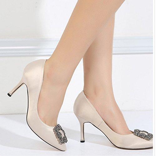 Champagne Heeled Nightclub EU Simple Toe Satin 37 Pumps Wedding 0608 Work Bride 21 Ladies OL Pointed Job Dress wfC77BSZq