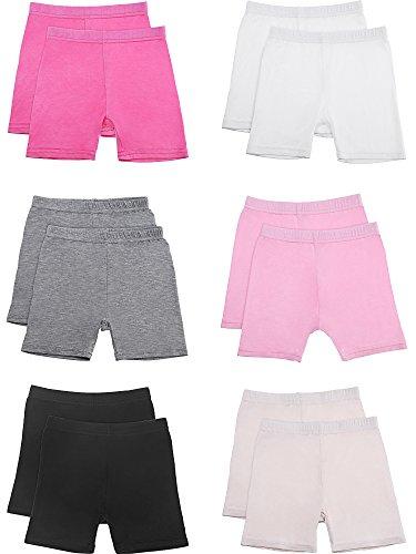 Zhanmai 12 Pieces Dance Shorts Bike Shorts Girls Stretchable Dancing Shorts for Girls Exercise Safety Shorts, 6 Colors (130) by Zhanmai