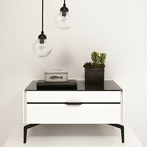- Adam and Illy COR0161 CORA Nightstand, Glam Black/White