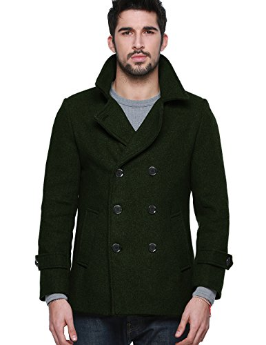 Match Mens Wool Blend Buttoned Top Coat (G1113 Dark Green, US L/CN 4XL (Fit 44