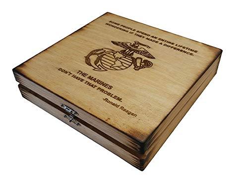 (USMC Keepsake Box - Made a Difference - Ronald Reagan Marine Corps Quote Keepsake Box - Boot Camp Graduation Gift)