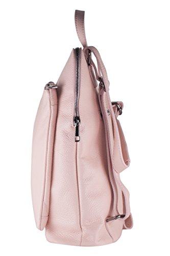 BORDERLINE - 100% Made in Italy - Bolsa-mochila de las mujeres en piel �?BEATRICE Rosado