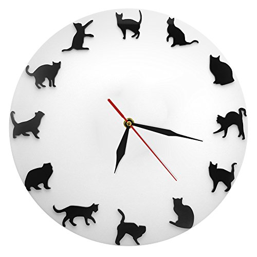 The Geeky Days Cat Wall Clock 12'' Black Kitty Animal Decorative Wall Clock Modern Cats Clock Kittens Wall Watch Silent White Clock Handmade Nursery Wall Art Decor For Kid's Room by The Geeky Days