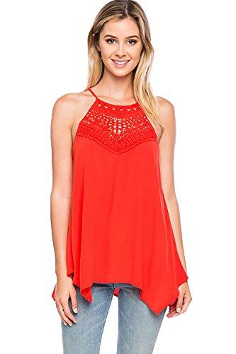 (SHOPGLAMLA Crochet Front Details Flowy Self Tie Back Top Blouse Tangerine S)