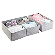mDesign Fabric Baby Nursery Closet Organizer for Clothes, Towels, Socks, Shoes - Set of 2, Large, 5 Compartments, Gray
