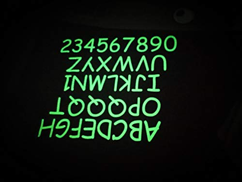 2 Inch Letters A to Z and Number 0 to 9 Glow in Dark Hologram Reflective Fluorescent in Dark for Jerseys T Shirts Biking Hiking Easy See at Night (Green Glow in Dark)