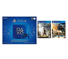 Playstation 4 AC Odyssey and Origins Days of Play Bundle: Assassins Creed Odyssey, Origins and Limited Edition Days of Play Playstation 4 Slim 1 TB Console