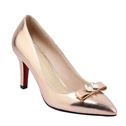 MissSaSa Damen high heel glitzer Pointed Toe Schleife Pumps mit Strass Gold