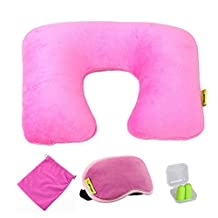 Comfortable Neck Pillow Travel Pillow With Sleep Mask And Earplugs E