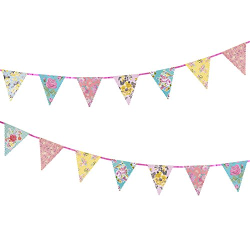 Talking Tables Truly Scrumptious Tea Party Decorations Bunting, Paper, Pastel Colours, Length 4M, 13ft (Flower Banner)