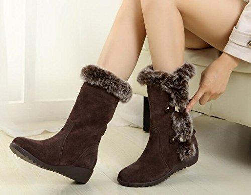 DADAWEN Womens Suede Mid Calf Buckle Warm Fur Lined Snow Boots Brown b63MFdHJI