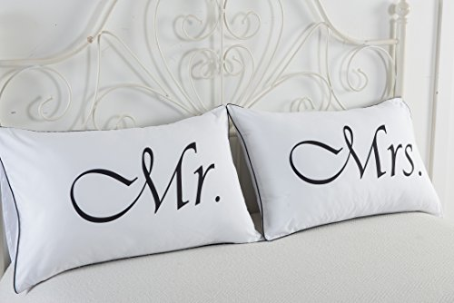 dasyfly 2pcs mr and mrs pillow caseshis and hers couples pillowcaseswedding anniversaryv daychristmas romantic gift ideahis and hers gifts for him