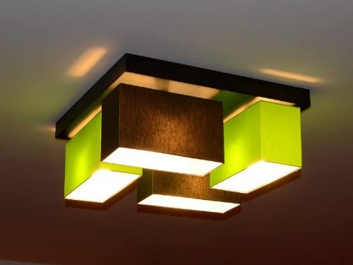 Deckenlampe Deckenleuchte Milano V4D Lampe Leuchte 4 flammig verschiedene Varianten (Braun-Grün) Braun-grün
