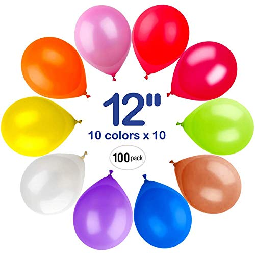 Party Balloons 100 Pack, 12 Inch 10 Assorted Colored Latex Balloons Bulk, Birthday Balloons Arch Supplies, Wedding Decorations