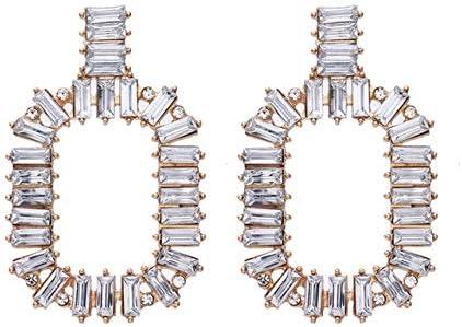Pendientes de gota geométricos de diamantes de imitación de lujo Declaración de moda Pendientes largos largos de cristal Mujeres Tendencias Joyería Regalos de fiesta