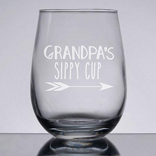 (Grandpas Sippy Cup Grandpa Wine Glass Etched Wine Glass Custom Wine Glass Personalized Wine Gift Grandpa Birthday Fathers Day)