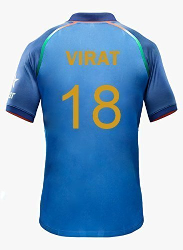 KD Team India ODI Cricket Supporter Jersey 2016-2017 - Kids to Adult 2017 (Kohli 18) Size 38