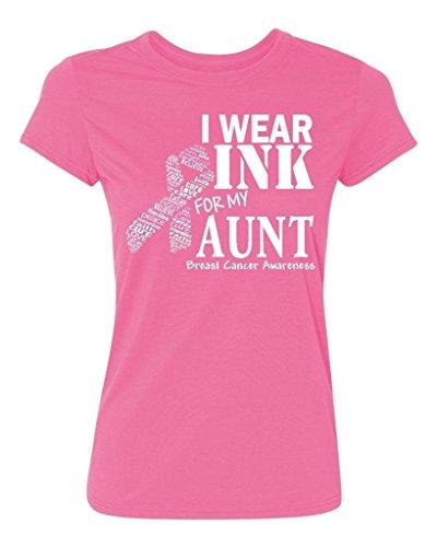 P&B I Wear for My Aunt Breast Cancer Awareness Women's T-Shirt, XL, Azalea Pink