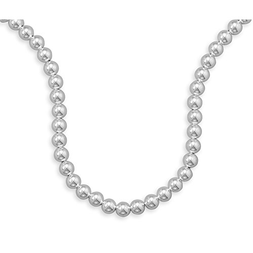 Ball 10mm Bead Sterling Silver Necklace Made in the USA, 20-inch ()