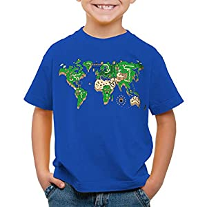 style3 Mario Mapamundi Camiseta para Niños T-Shirt Videojuego videoconsola SNES n64