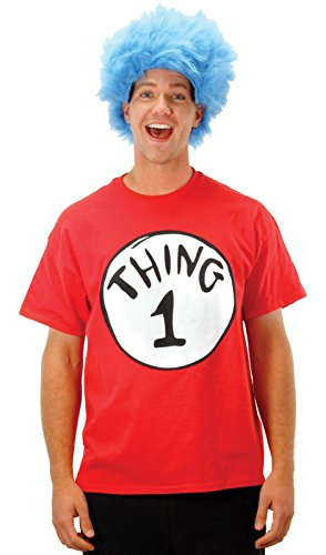 Elope Adult Thing 1 Adult T Shirt And Wig