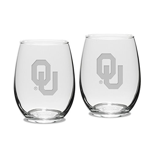 NCAA Oklahoma Sooners Adult Set of 2-15 oz Stemless Wine Glass Deep Etched Engraved, One Size, Clear by University Glass (Image #1)