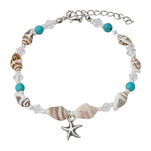 CrazyPiercing Boho Anklet Bracelet, Conch Shell Turquoise Clear Acrylic Faux Pearl Beaded Ankle Beach Foot Chain with Starfish Charm Anklet for Women and Girls (Conch Starfish)