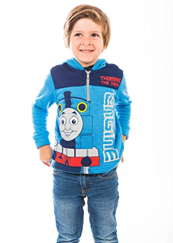 Thomas The Tank Engine Boys' Fleece Hoodie Pullover Sweatshirt with Zipper, Blue
