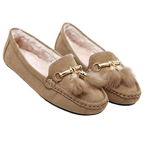 Tantisy ♣↭♣ Girls Soft Cotton Warm Shoes Baby Cute Bow Pea Boots Ladies Casual Tassel Flats Shoes Beige by Tantisy ♣↭♣ (Image #6)