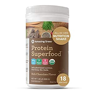 Amazing Grass Protein Superfood: Vegan Protein Powder, All-in-One Nutrition Shake, Rich Chocolate, 18 Servings
