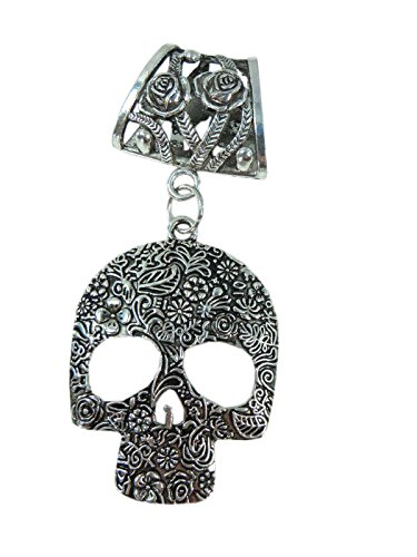 (Day of the Dead / Dia de los Muertos sugar skull gothic rockabilly psychobilly scarf pendant bail slide set. Jewelry finding accessories for DIY jewelry scarf necklace.)