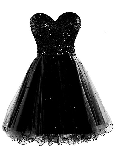 Sarahbridal Juniors Short Prom Dresses 2019 Tulle Sweetheart Sequin Homecoming Ball Gown Black -
