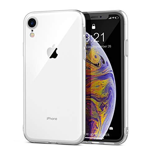 GLOUE iPhone XR Case Soft Flexible TPU Cover Transparent Crystal Case with Clear Back Panel Compatible with iPhone XR HD Clear