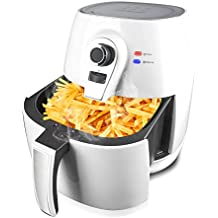 Yongtong Air fryer, 1400W Healthy Smokeless Low-Fat Non-stick Multi-Cooker Oilless Cooker, 4L 3.8QT Capacity with Timer and Temperature Control and Detachable Basket Handles (White)