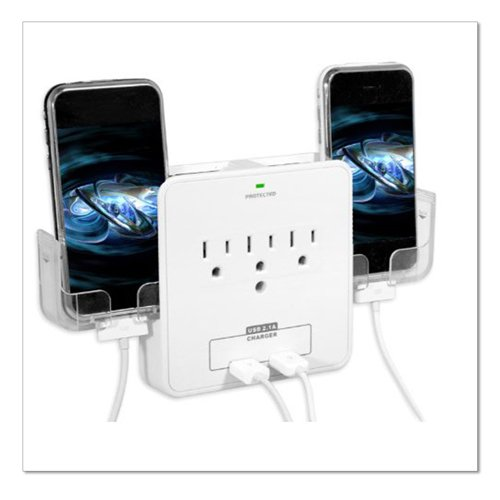 RND Power Solutions Wall Power Station Includes 3 AC Plugs,2 USB Ports and Holders for Your Smartphone (White)