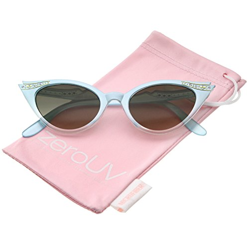 zeroUV - Women's Retro Rhinestone Embellished Cat Eye Sunglasses 51mm (Mint / Smoke Gradient) (Fifties Cat Eye Rhinestone Glasses)